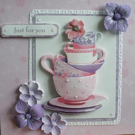Набор для изготовления открытки с высечкой Чашки, коллекция Lucy Cromwell