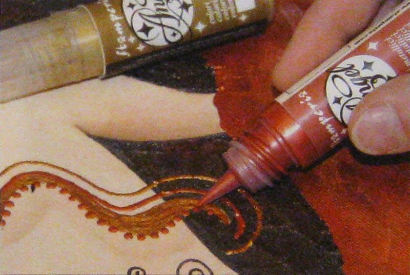 Краска контур для декупажа металлик Angel красный закат 20 мл, Stamperia