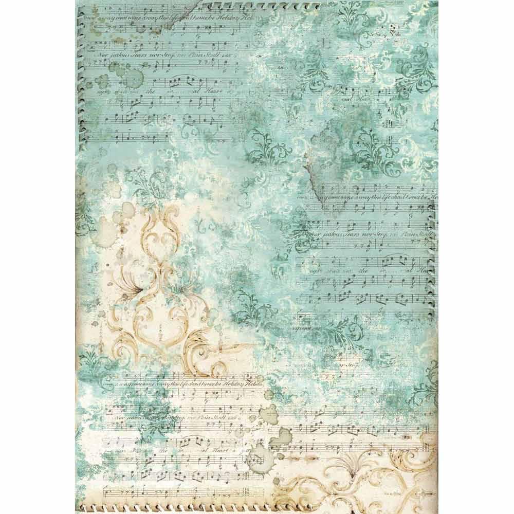 Рисовая бумага для декупажа Stamperia DFSA3017 Ноты и орнамент