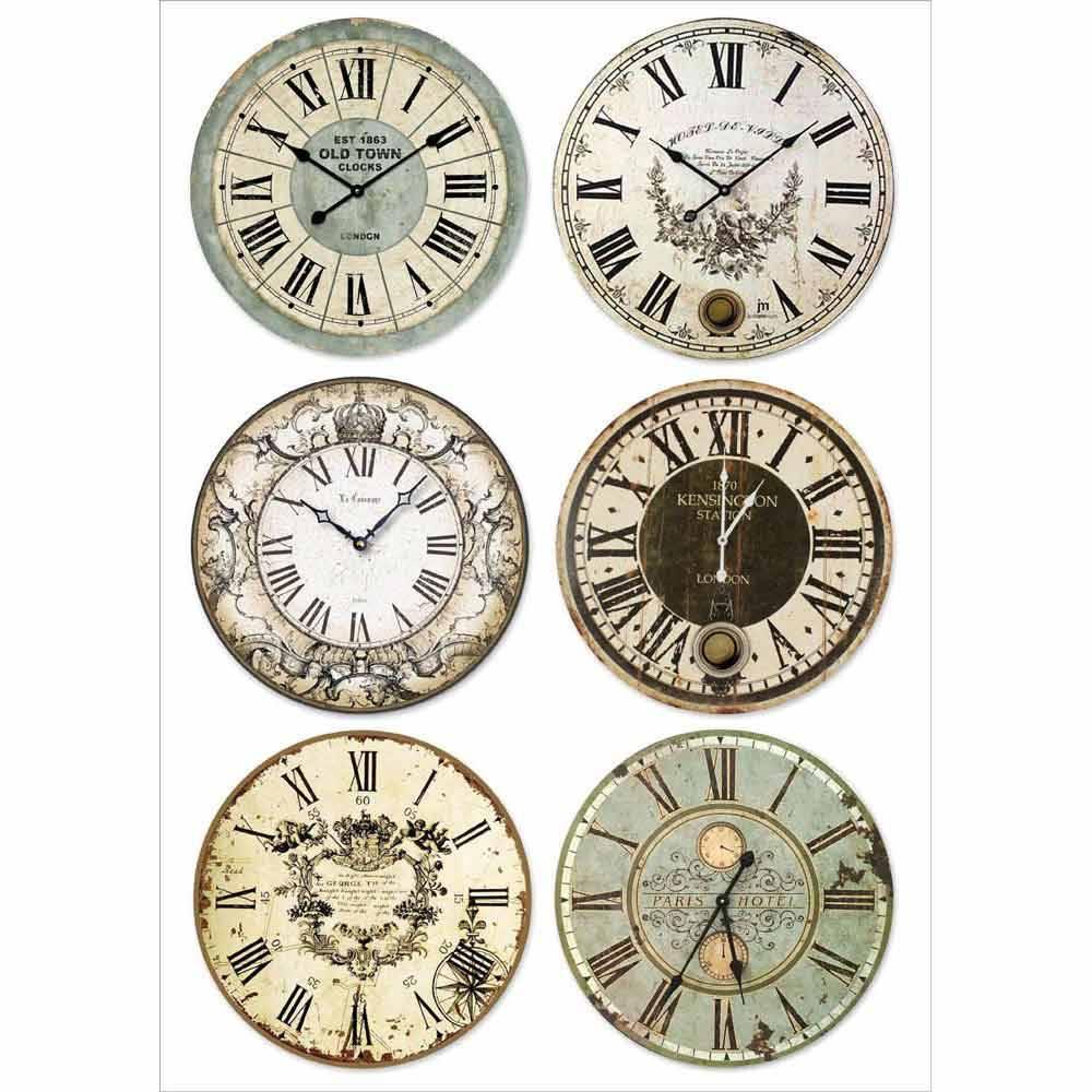 Новогодняя рисовая бумага для декупажа Stamperia DFSA4316 Часы