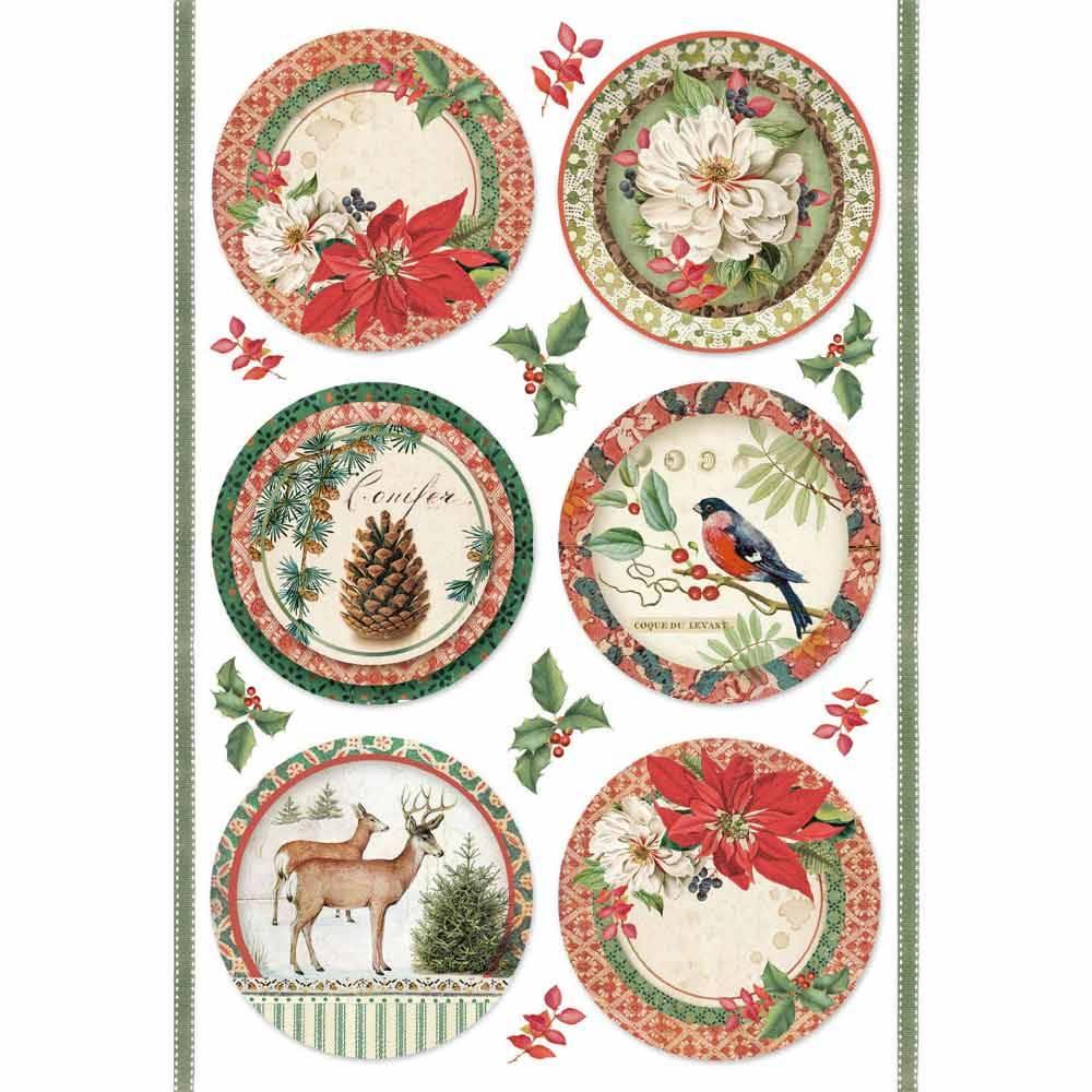 Новогодняя рисовая бумага для декупажа Stamperia DFSA4325 Рождественские шары