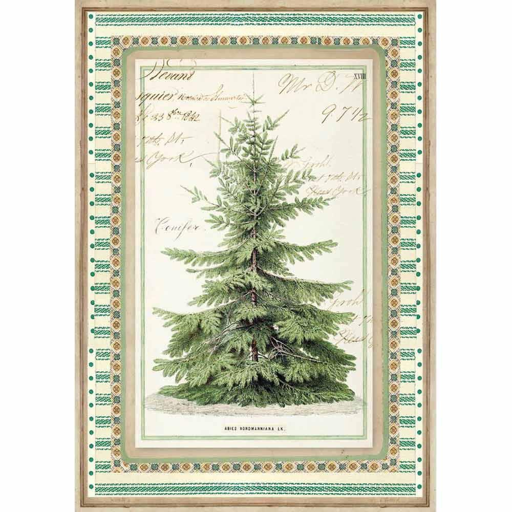 Новогодняя рисовая бумага для декупажа Stamperia DFSA4327 Зимняя ботаника, елка