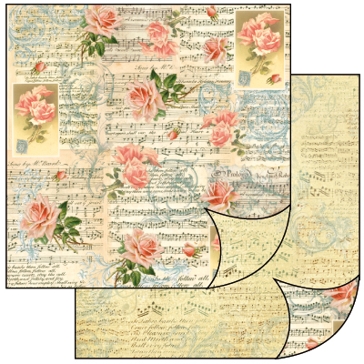 Бумага двусторонняя для скрапбукинга розы ноты, винтаж
