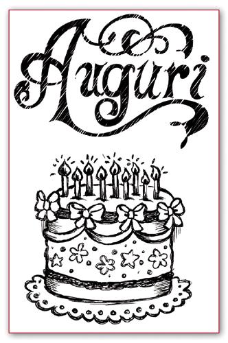 Штампы силиконовые для скрапбукинга день рождения торт свечи Stamperia