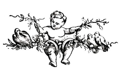Штамп силиконовый для скрапбукинга Ангел, голуби, винтаж Stamperia WTK058