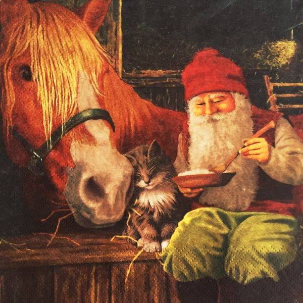 Салфетка для декупажа новогодняя Гном и лошадь