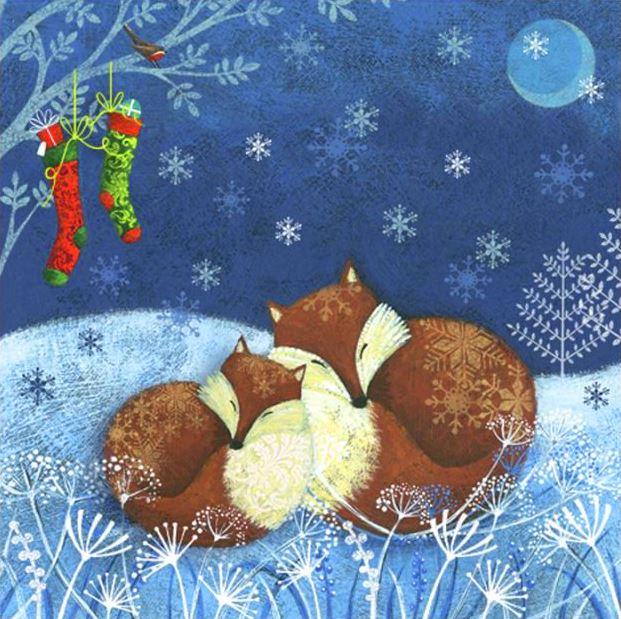 Салфетка для декупажа новогодняя Две лисицы