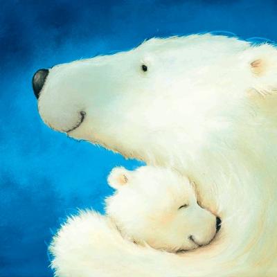 Салфетка для декупажа новогодняя Белая медведица с медвежонком