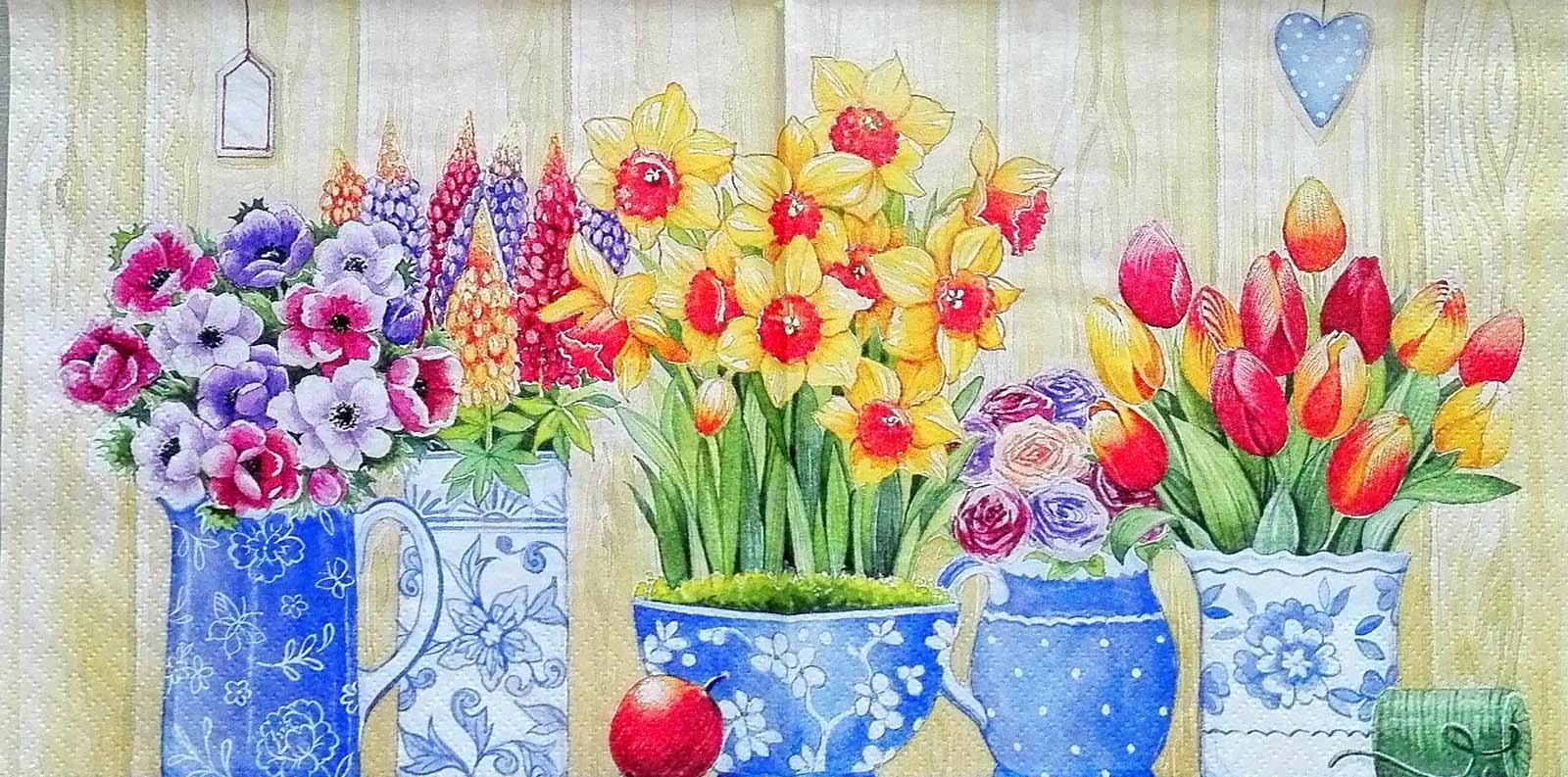 Салфетки для декупажа Ti Flair Весенние цветы в вазах