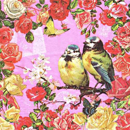 салфетки для декупажа Винтажные розы и птицы, купить