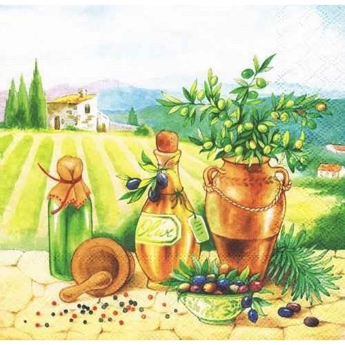 салфетки для декупажа Тоскана оливки, купить