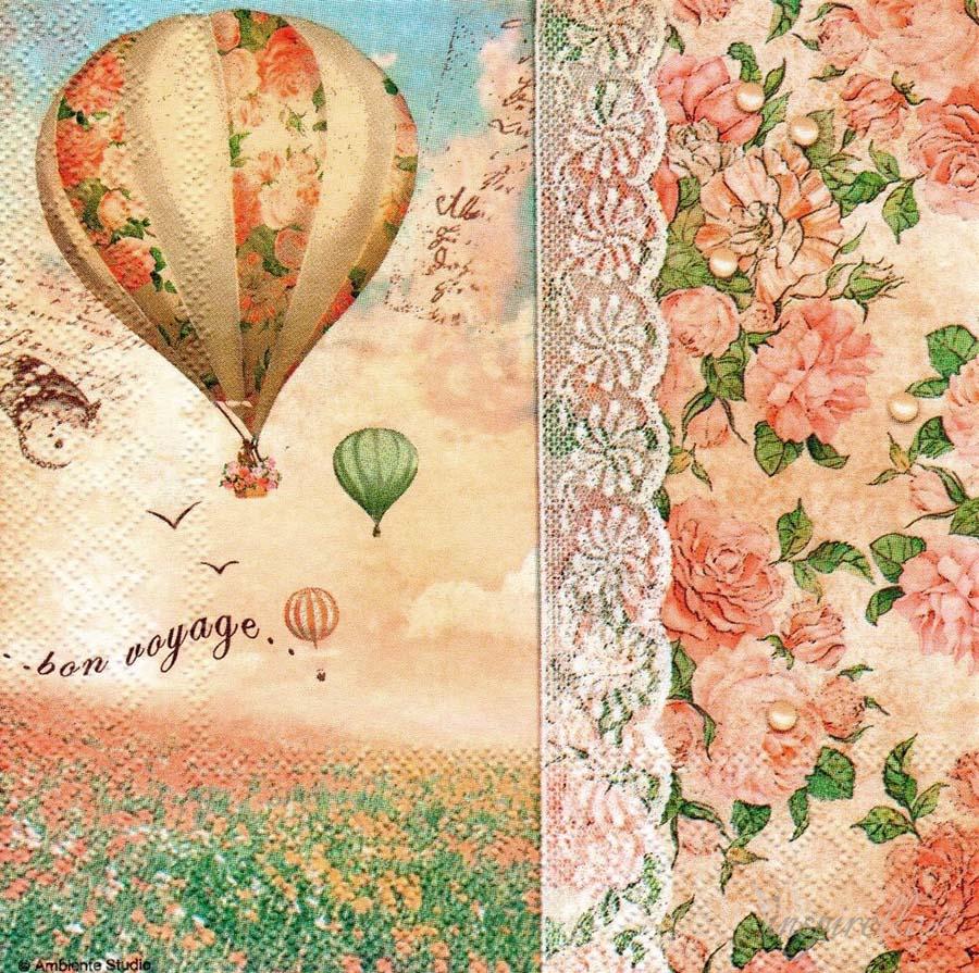 салфетки для декупажа Путешествие на воздушном шаре, купить
