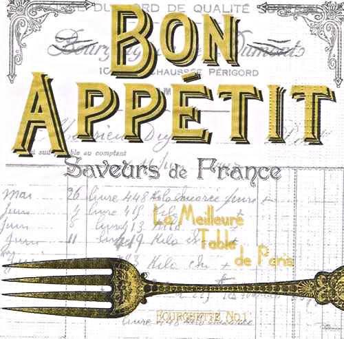 салфетка бумажная для декупажа Bon Appetit, белый фон