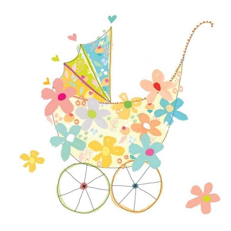 салфетка бумажная для декупажа Детская коляска и цветы