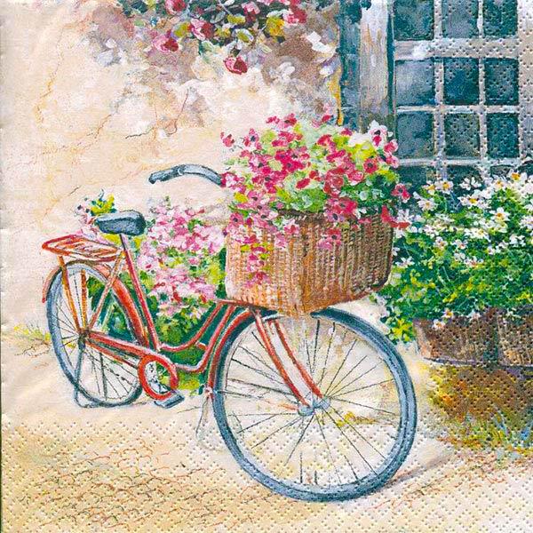 салфетка бумажная для декупажа Велосипед с цветами