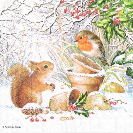 Новогодняя салфетка для декупажа Белочка и птичка