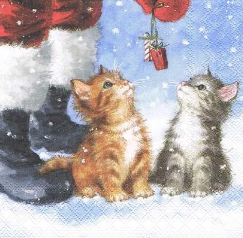 Новогодняя салфетка для декупажа Два маленьких подарка, купить