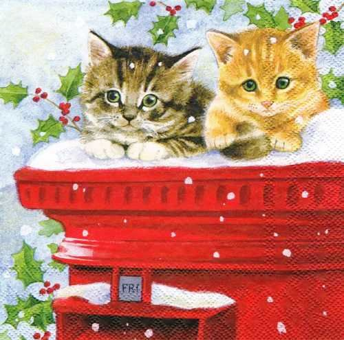 Новогодняя салфетка для декупажа Рождественские котята, купить