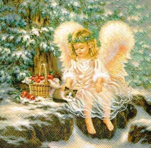 Новогодняя салфетка для декупажа Маленький ангел, купить