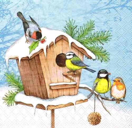 Новогодняя салфетка для декупажа Зимний скворечник, купить