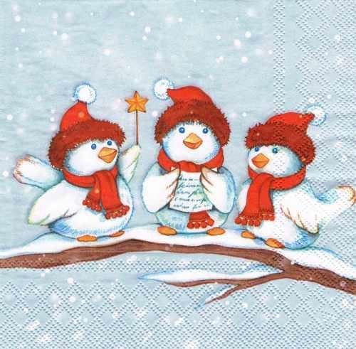 Новогодняя салфетка для декупажа Рождественские птицы, купить