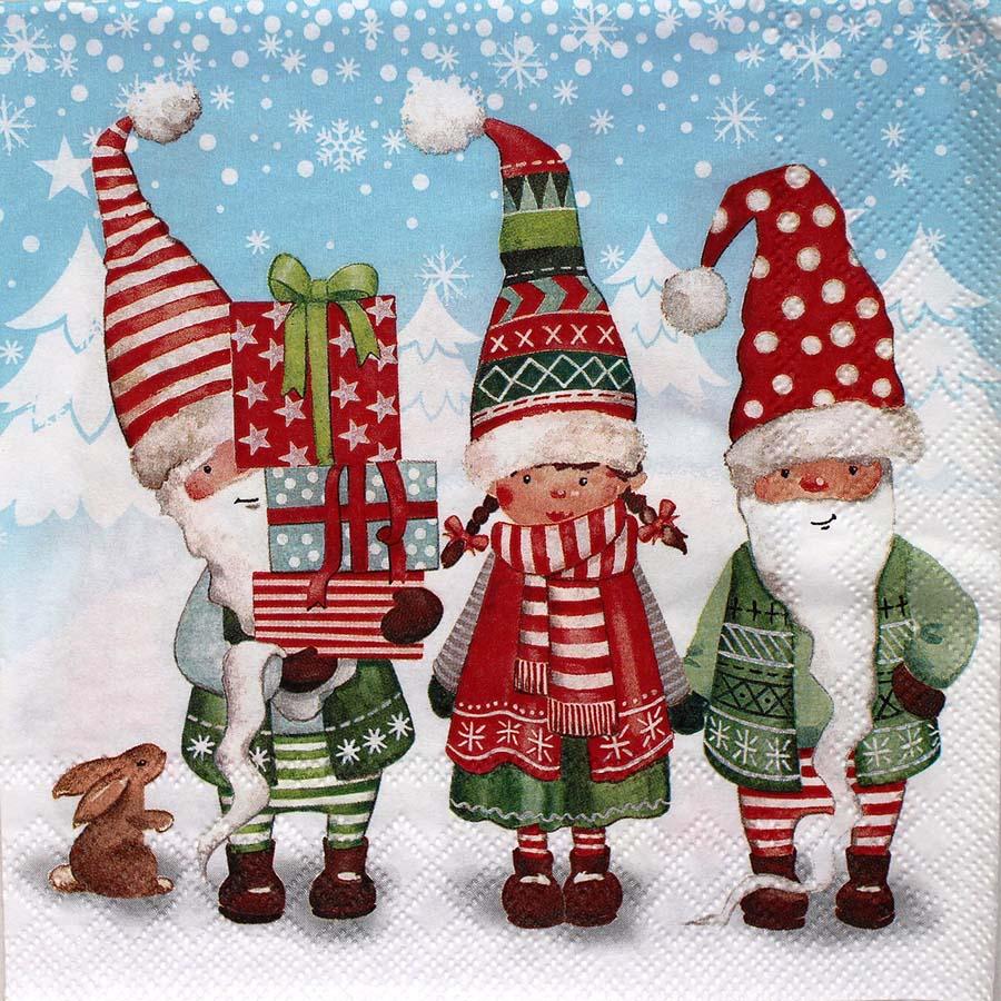 Новогодняя салфетка для декупажа Рождественские гномы