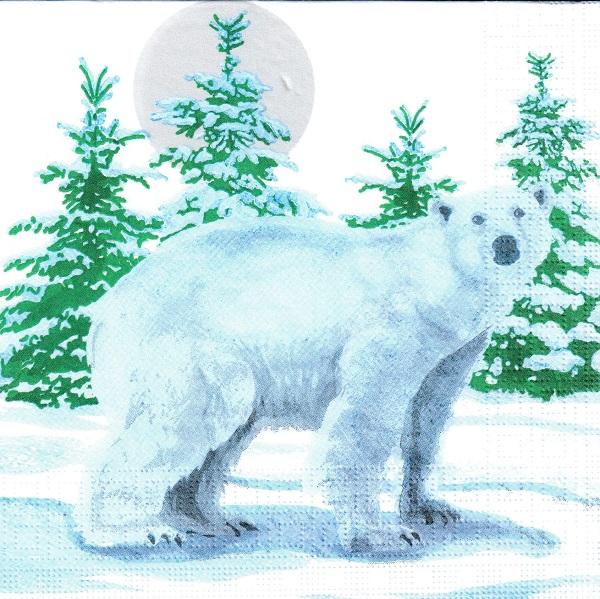 Новогодняя салфетка для декупажа Белый медведь, купить