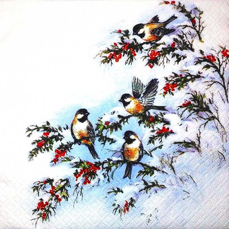 Новогодняя салфетка для декупажа Зимние птицы