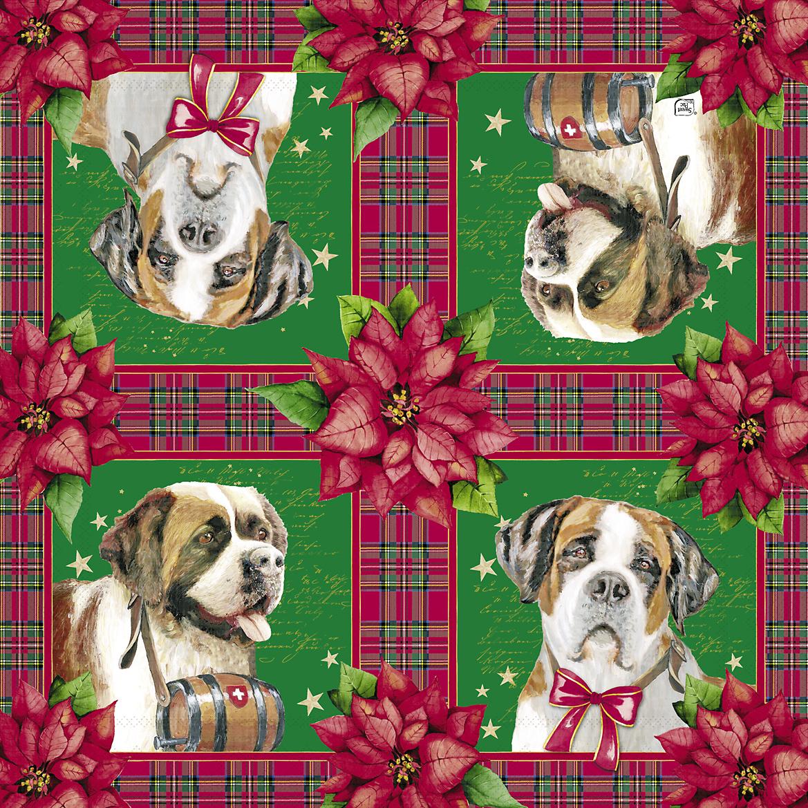 Новогодняя салфетка для декупажа Рождественские собаки