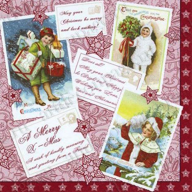 Салфетки для декупажа новогодние, рождественские, купить, винтажные открытки Счастливого рождества