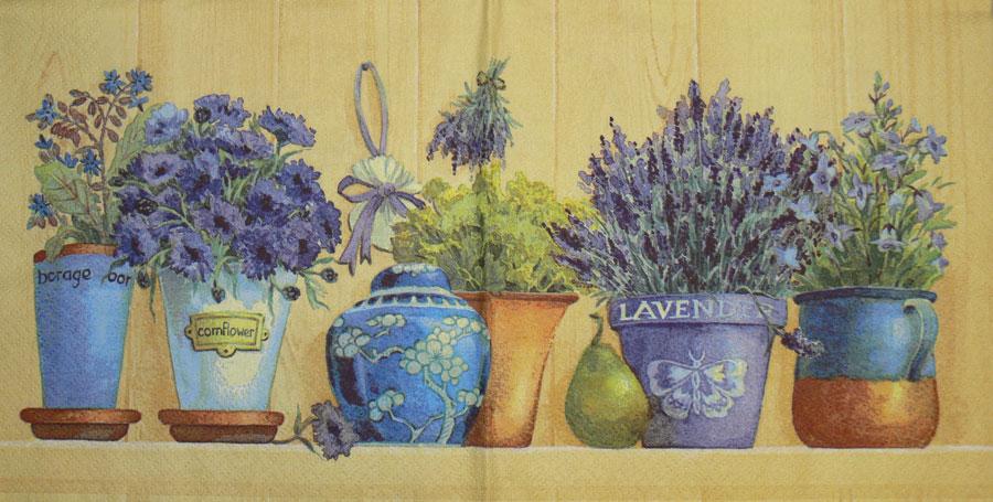 Салфетки для декупажа цветы Лаванда в горшке