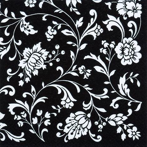 Декупажные салфетки с узорами, орнамент на черном фоне, купить