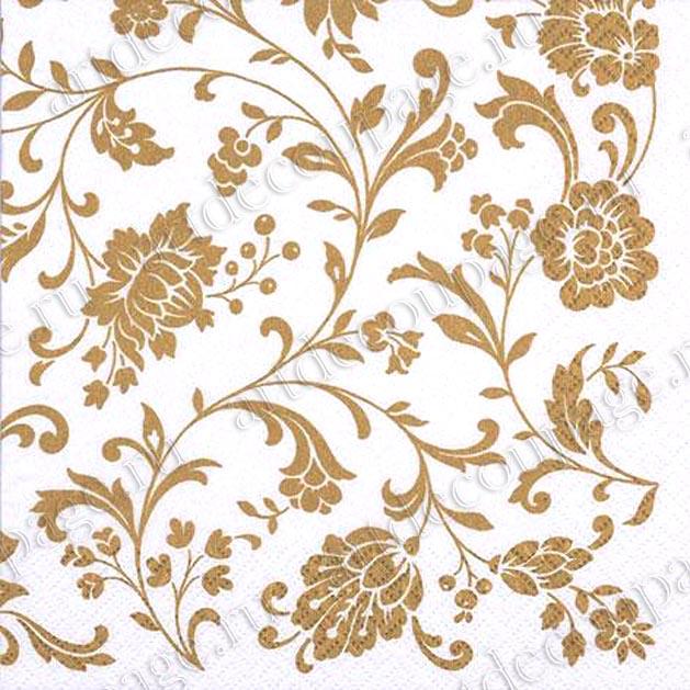 Салфетка для декупажа Цветочный золотистый орнамент,
