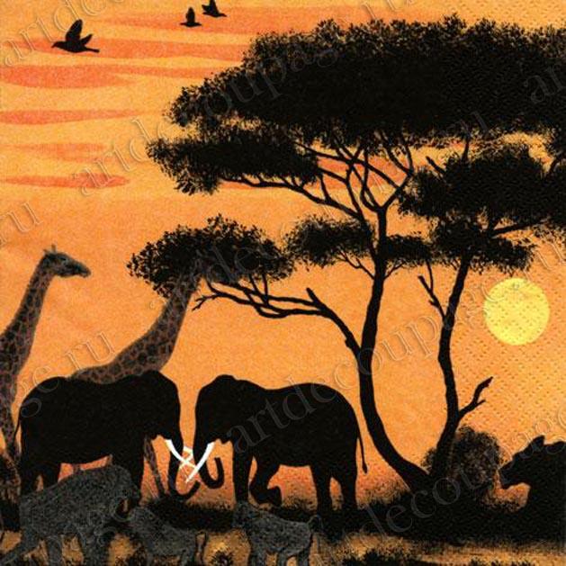 Салфетки для декупажа Парк Окаванго, Африка, африканские животные, купить