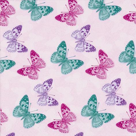 Салфетки для декупажа Бабочки на розовом фоне