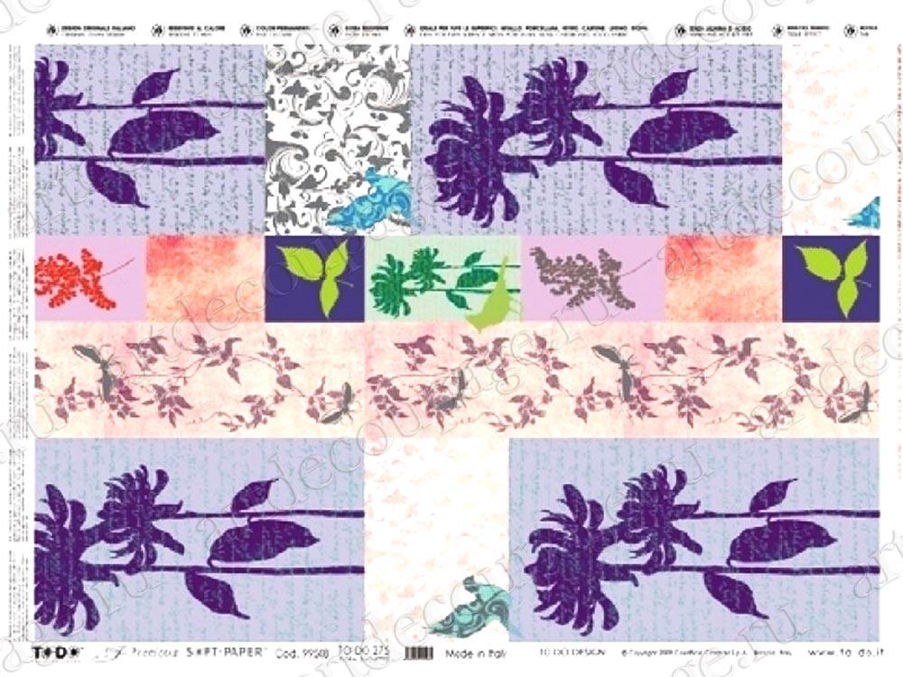Декупажные карты с серебром To-Do, Цветы , купить