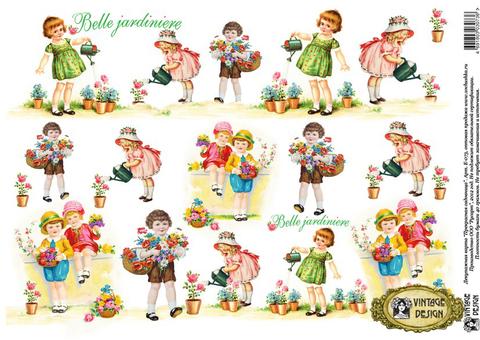 Карты для декупажа Vintage Design E-073 дети, цветы, формат А3, купить - магазин АртДекупаж, Москва