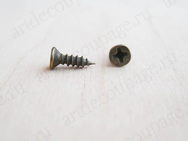 Фурнитура для шкатулок, мини шуруп для фурнитуры античная бронза 8 мм