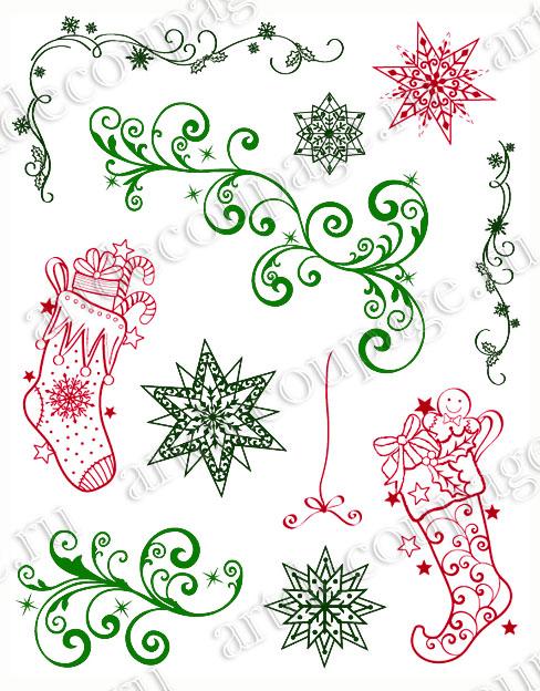 Новогодние штампы для скрапбукинга Рождественские носки и звезды, Viva Decor, купить