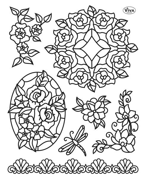 Набор силиконовых штампов для скрапбукинга Tiffany, Цветы и стрекоза, Viva decor