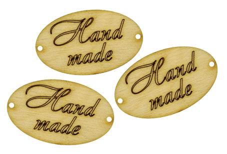 Декоративные бирки овальные Hand made, лазерные вырубки из фанеры