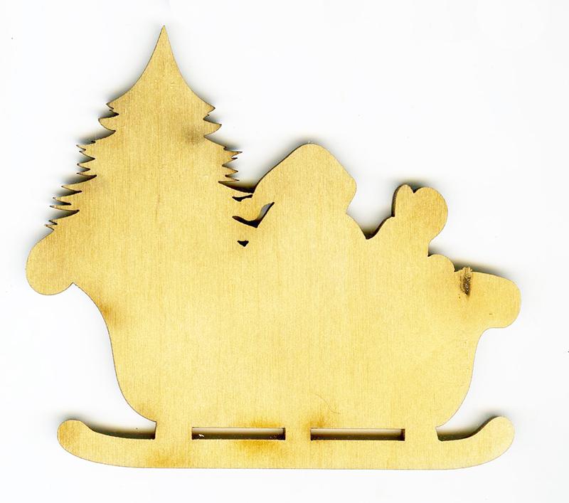 Новогодняя плоская фигурка из фанеры Дед мороз с ёлкой в санях