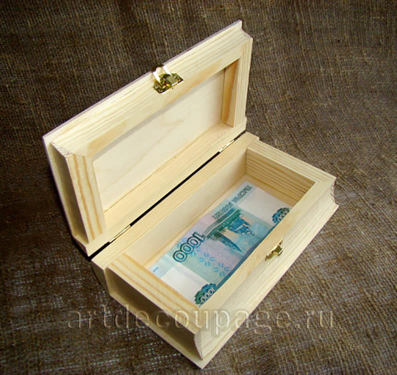Заготовка деревянная шкатулка книга с замочком