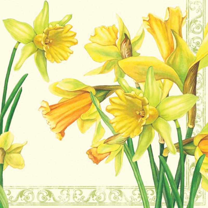 Красивые салфетки для декупажа Цветы нарциссы, купить, АртДекупаж