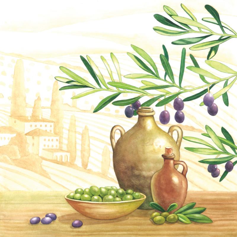 Прованс салфетки для декупажа Оливки, оливковое масло, купить, магазин АртДекупаж