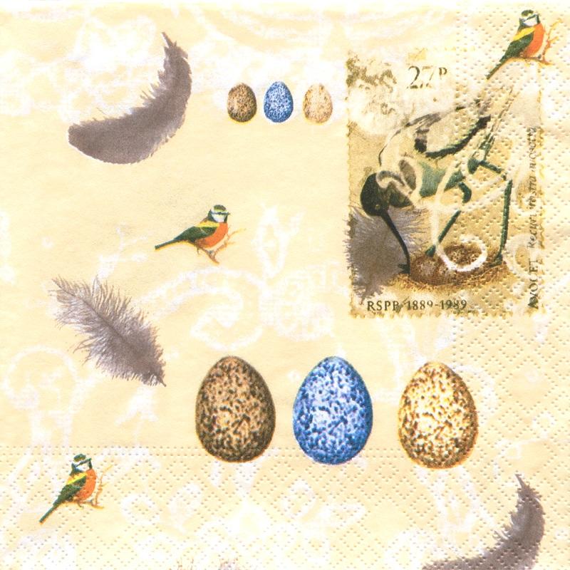 Салфетки для декупажа Птицы, птичьи яйца, бледно желтый фон, купить, АртДекупаж