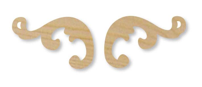 Деревянная накладка для декора Завиток - уголок Stamperia  KLS230