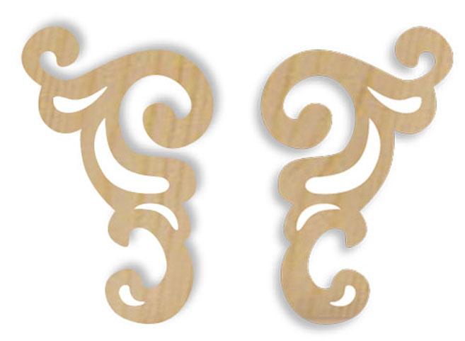 Деревянная накладка для декора Завиток - уголок Stamperia  KLS231