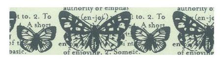 Декоративный бумажный скотч с рисунком для скрарбукинга  Бабочки и текст