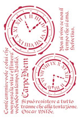 Трафарет для декупажа и декора Часы и текст Stamperia KSG160